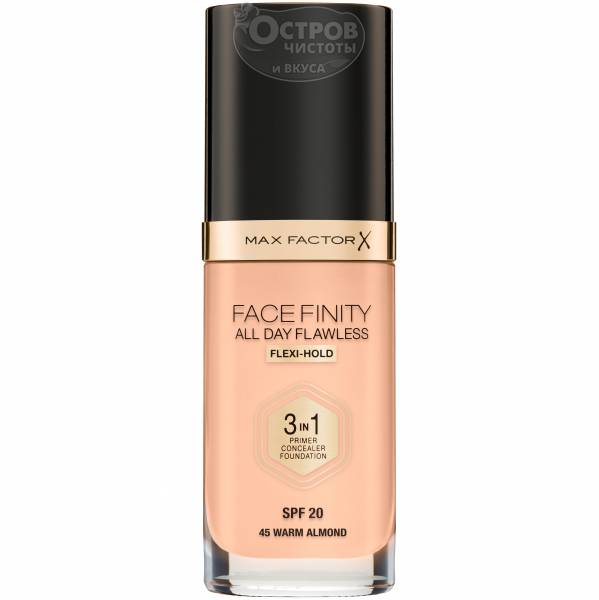 Тональный крем Max Factor FACEFINITY ALL DAY FLAWLESS Flexi-Hold 3 in 1 SPF 20 устойчивый тон 45 Warm Almond, 30 мл